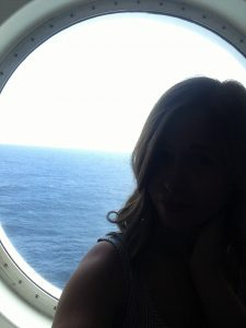Ferry to France with Children mummy at porthole