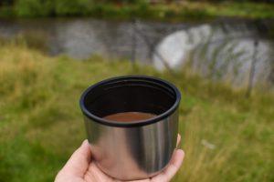 Autumn walk with hot chocolate